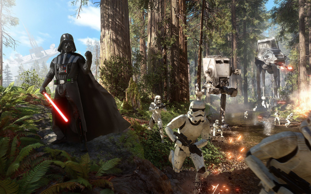 1920x1080 pix. Wallpaper Star Wars, Star Wars: Battlefront, Darth Vader, stormtrooper, Galactic Empire, video games, forest