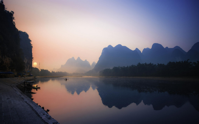 1920x1200 pix. Wallpaper China, nature, landscape, reflection, river, mountains, sunrise, mist, boat, water, calm