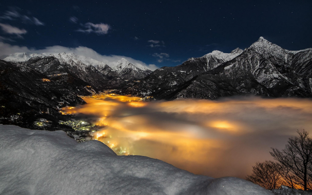 1920x1200 pix. Wallpaper Alps, mountains, snow, Italy, lights, stars, clouds, nature, landscape, evening