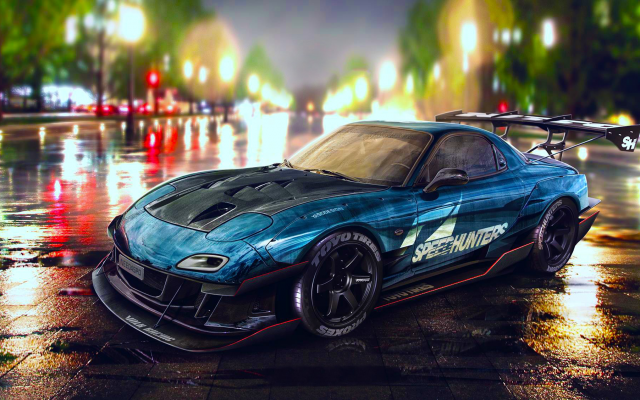 2048x1128 pix. Wallpaper car, Mazda RX-7, tuning, Mazda, night, wet