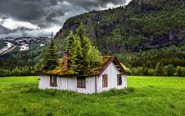 2100x1315 pix. Wallpaper Norway, landscape, nature, summer, abandoned, grass, mountains, house, trees