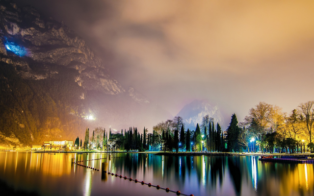 1920x1200 pix. Wallpaper lake garda, italy, night, landscape, nature, lights, mountains, lake, reflection