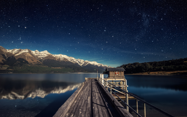 3840x2160 pix. Wallpaper pier, water, horizon, lake, mountains, night, stars, nature, landscape