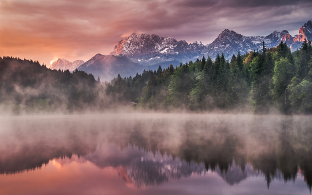 2200x1375 pix. Wallpaper Germany, lake, forest, fog, mist, mountains, snowy peak, sunrise, reflection, landscape, nature