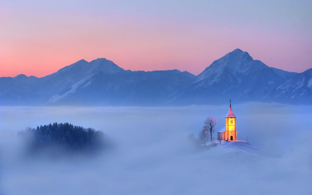 2560x1600 pix. Wallpaper slovania, church, sky, winter, mountains, clouds, fog, nature