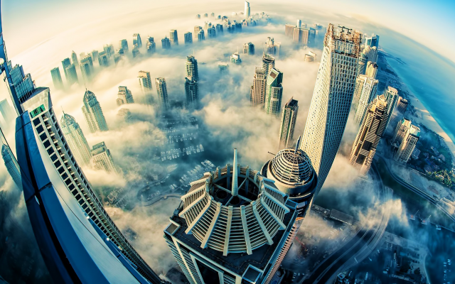 1920x1080 pix. Wallpaper dubai, clouds, skyscrapers, world, fog, sea, city