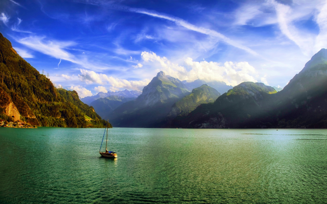 3500x2113 pix. Wallpaper mountains, clouds, Alps, Switzerland, sailboats, nature, lake