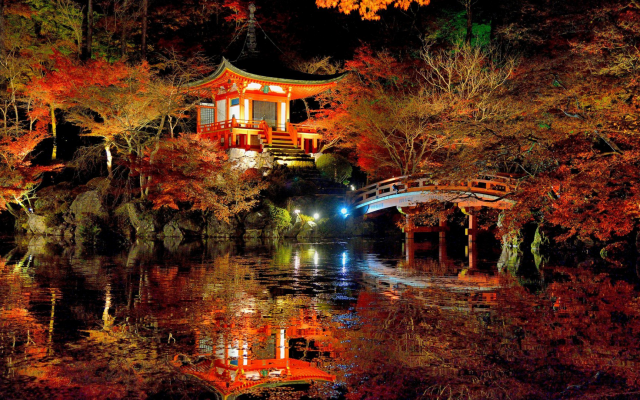 1920x1080 pix. Wallpaper tree, forest, leaves, autumn, Japan, bridge, night, asian architecture, lights, pond, nature