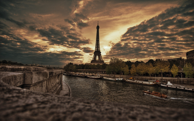 1920x1200 pix. Wallpaper Paris, France, Eiffel Tower, city, river, clouds, overcast, hdr