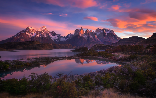 2048x1251 pix. Wallpaper Torres del Paine, Chile, nature, landscapes, mountains, lakes, sunrise, shrubs, snowy peaks, clouds