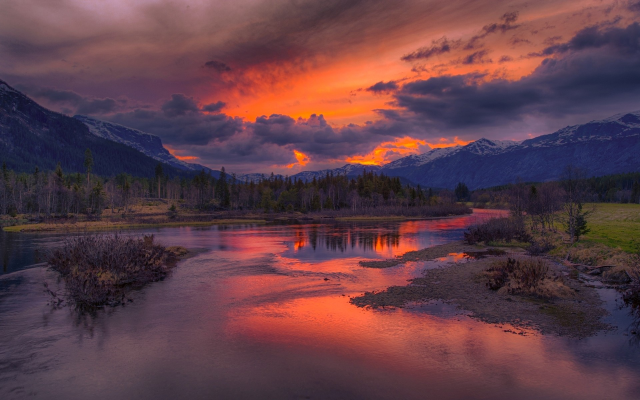 1920x1200 pix. Wallpaper sunrise, rivers, mountains, clouds, snowy peaks, forests, nature, landscapes