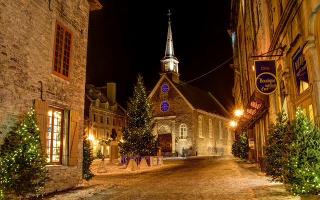 1920x1080 pix. Wallpaper architecture, city, town, Quebec, Canada, night, christmass