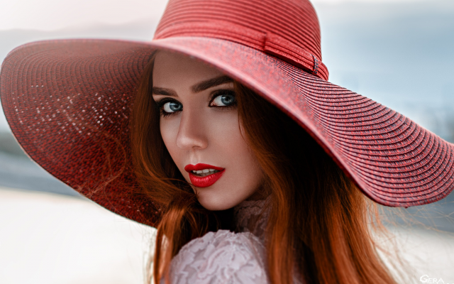 2048x1367 pix. Wallpaper women, faces, portraits, red lipstick, redhead, hats, rear view, open mouth, sensual gaze, blue eyes