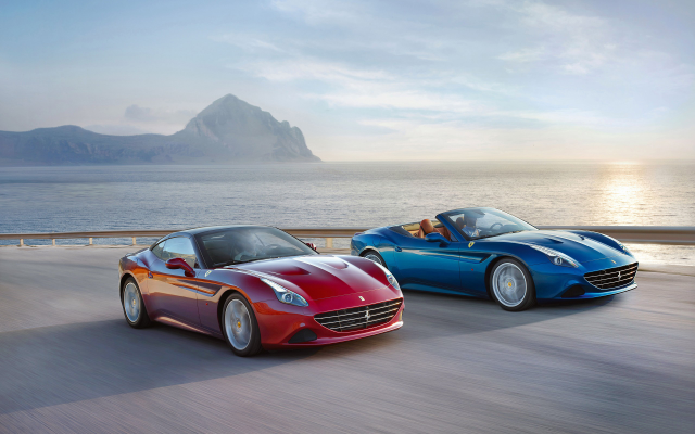 2560x1600 pix. Wallpaper Ferrari California T Convertible, road, sea, sunset, car, Ferrari California, Ferrari