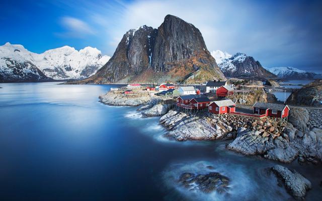 Wallpapers Lofoten Norway Fjord Snow Nature Landscape