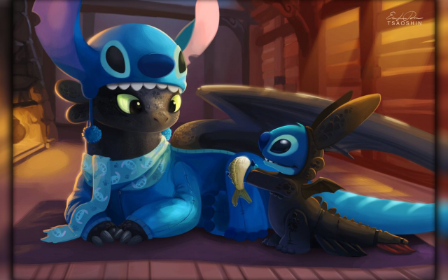 1920x1080 pix. Wallpaper Lilo and Stitch, dragon, Toothless, How to Train Your Dragon, Stitch