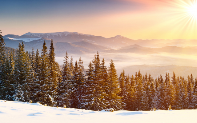 9301x4738 pix. Wallpaper sun rays, snow, snowy peaks, mountains, forests, winter, clear skies, mist