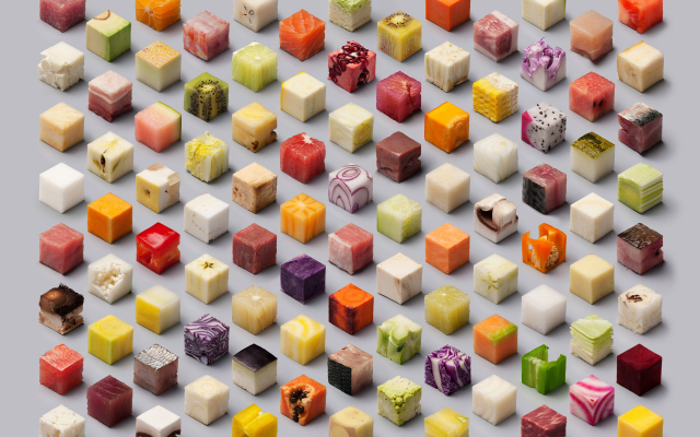 2600x2061 pix. Wallpaper food, cubes, fruit, meat, artwork, cheese, art
