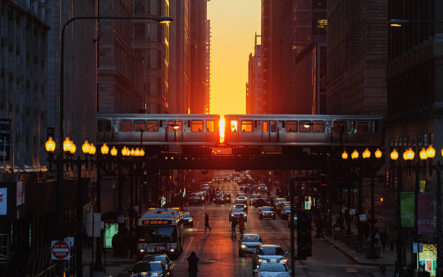 3840x2400 pix. Wallpaper chicago, illinois, city, sunset, street, metro, car