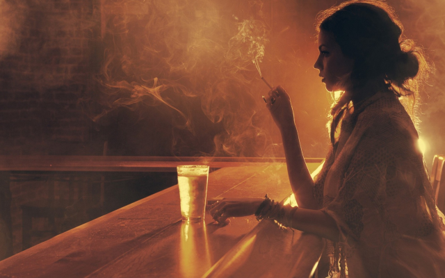 2536x1424 pix. Wallpaper smoking, women, bars, sepia, cigaretes