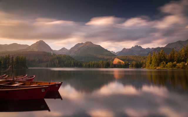 3360x2100 pix. Wallpaper high tatras, high tatra mountains, slovakia, nature, mountains, sunset, lake, forest, boat, calm, cl