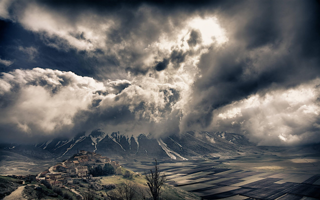 1920x1200 pix. Wallpaper nature, landscapes, Italy, mountains, fields, villages, clouds, snowy peaks, valleys, Alps