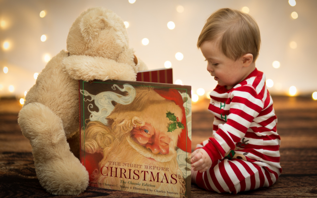 2048x1365 pix. Wallpaper christmas, new year, baby, child, boy, book, toy, teddy bear