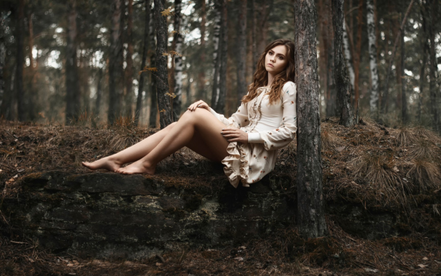 1920x1080 pix. Wallpaper women, models, brunettes, long hair, women outdoors, nature, sitting, barefoot, looking away, trees