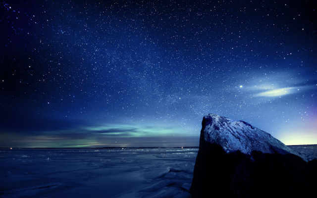 Descargar 2560x1440 Cielo Claro Sobre Las Montañas Nevadas: Wallpapers Sky, Stars, Night, Ice, Winter, Nature