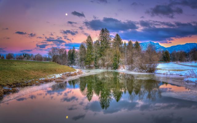 3000x1893 pix. Wallpaper lake, walchsee, tirol, austria, nature, sunset, reflections, frost