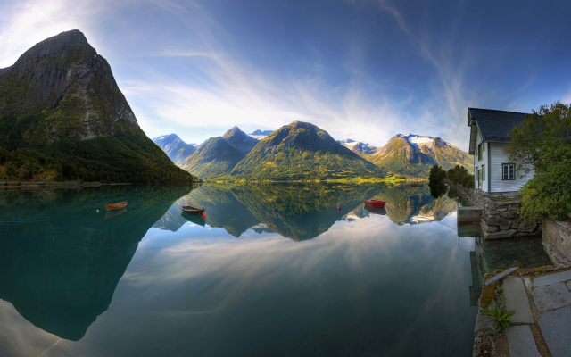 2560x1600 pix. Wallpaper norway, fjord, reflections, mountains, river, boat, nature