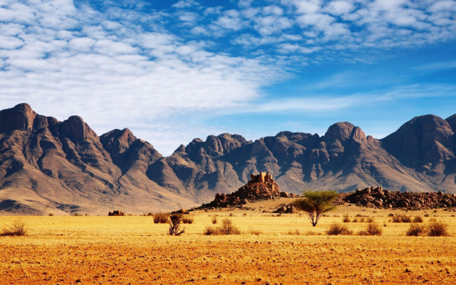 1920x1080 pix. Wallpaper Namibia, Africa, nature, landscape, mountain, clouds, desert, rock, trees, stones, plants