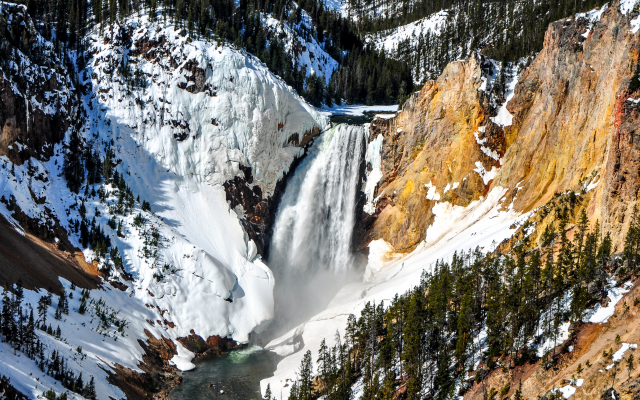 Wallpapers Lower Falls Yellowstone National Park Mountains
