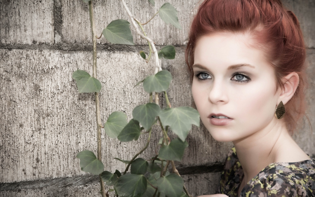 2560x1600 pix. Wallpaper Karoline Kate, model, redhead, blue eyes, women