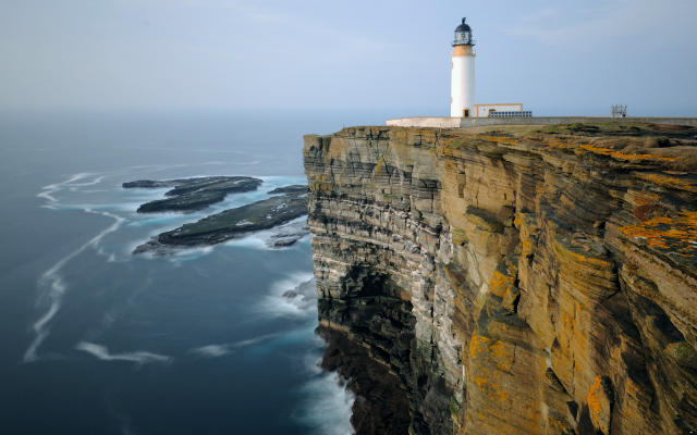 1920x1280 pix. Wallpaper noup head lighthouse, westray, orkney, sea, cliff, coast, nature, lighthouse