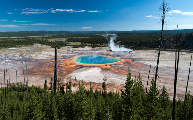 3840x2160 pix. Wallpaper the grand prismatic spring, nature, yellowstone national park, usa, midway geyser basin, wyoming, usa