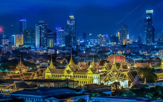 6506x1500 pix. Wallpaper grand palace, bangkok, thailand, night, skyscrapers, panorama, city