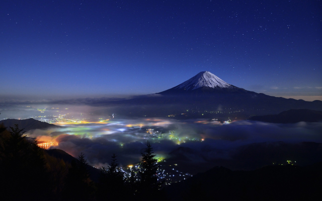 1920x1200 pix. Wallpaper nature, landscape, starry night, mountain, cityscape, mist, snowy peak, lights, trees, Mount Fuji, J