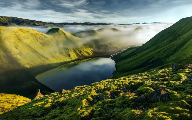 1920x1080 pix. Wallpaper mountains, iceland, hills, clouds, fog, mist, lake, grass, nature, landscape