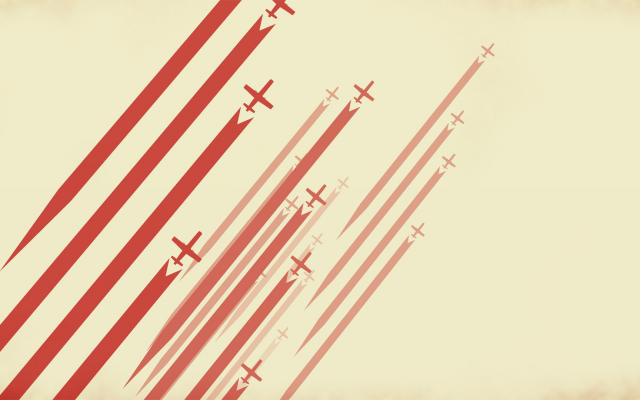1920x1080 pix. Wallpaper digital art, minimalism, lines, stripes, red, airplane, aircraft, simple background