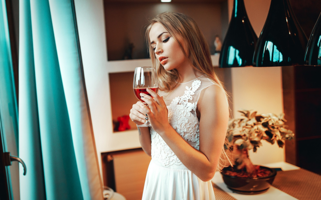 2048x1152 pix. Wallpaper women, wine glass, white dress, standing, juicy lips