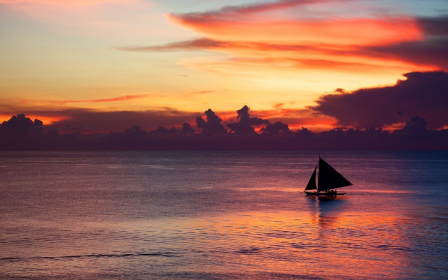 1920x1080 pix. Wallpaper sailboat, sunset, sea, calm, clouds, purple sky, nature