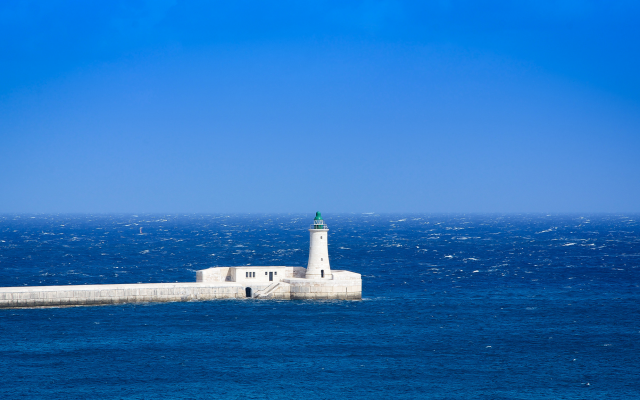 2048x1152 pix. Wallpaper mediterranean sea, lighthouse, sea, horizon, blue sky, waves, nature