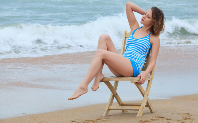 5000x3333 pix. Wallpaper women outdoors, women, chair, model, beach, sea, ocean, waves