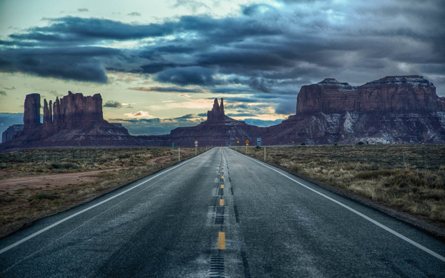 2000x1333 pix. Wallpaper monument valley, united states, arizona, utah, road, clouds, sky, twilight, nature