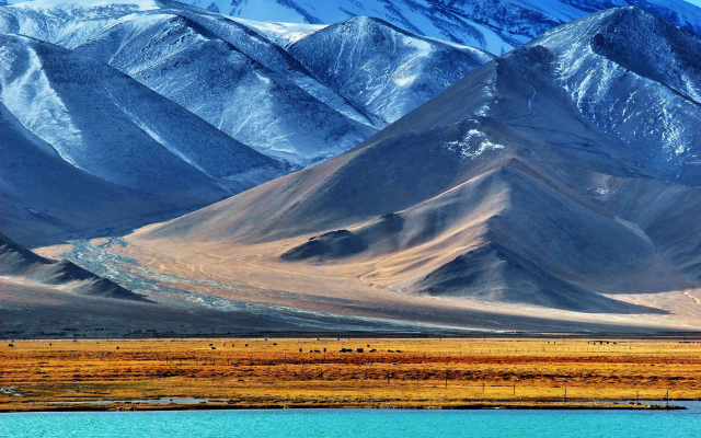 1920x1200 pix. Wallpaper Pamir, Tajikistan, nature, landscape, mountain, snow, water, lake, snowy peak, field, hill