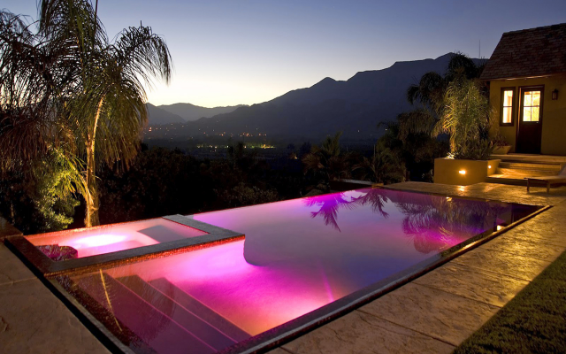 Wallpaper California Luxury Homes, Night, Pool, Mountains, Nature