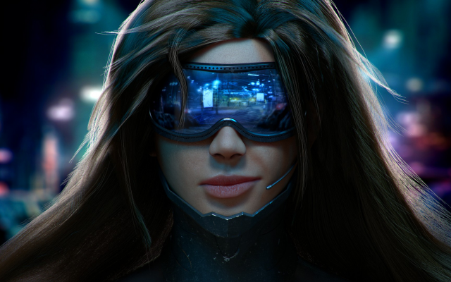 1920x1080 pix. Wallpaper cyberpunk, girl, brunette, glasses