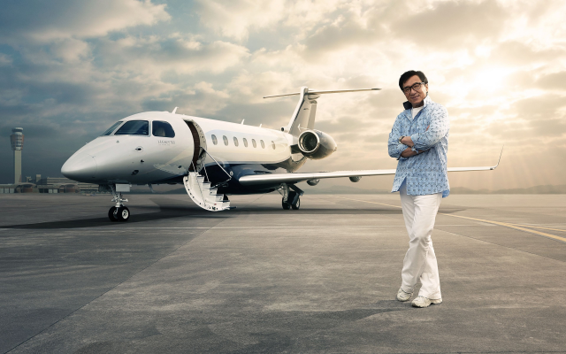 2560x1600 pix. Wallpaper actor, smile, airfield, glasses, jackie chan, private jet, aircraft, aviation, embraer, legacy 500