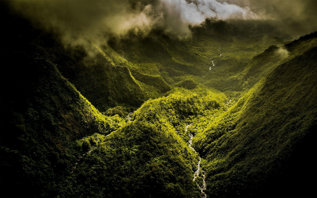 1920x1200 pix. Wallpaper nature, landscape, mountain, mist, clouds, valley, river, forest, green, Hawaii, island